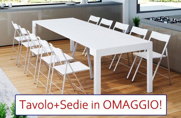 OFFERTA Bundle - Tavolo Consolle MAYA 110XL + 12 Sedie Slim Legno