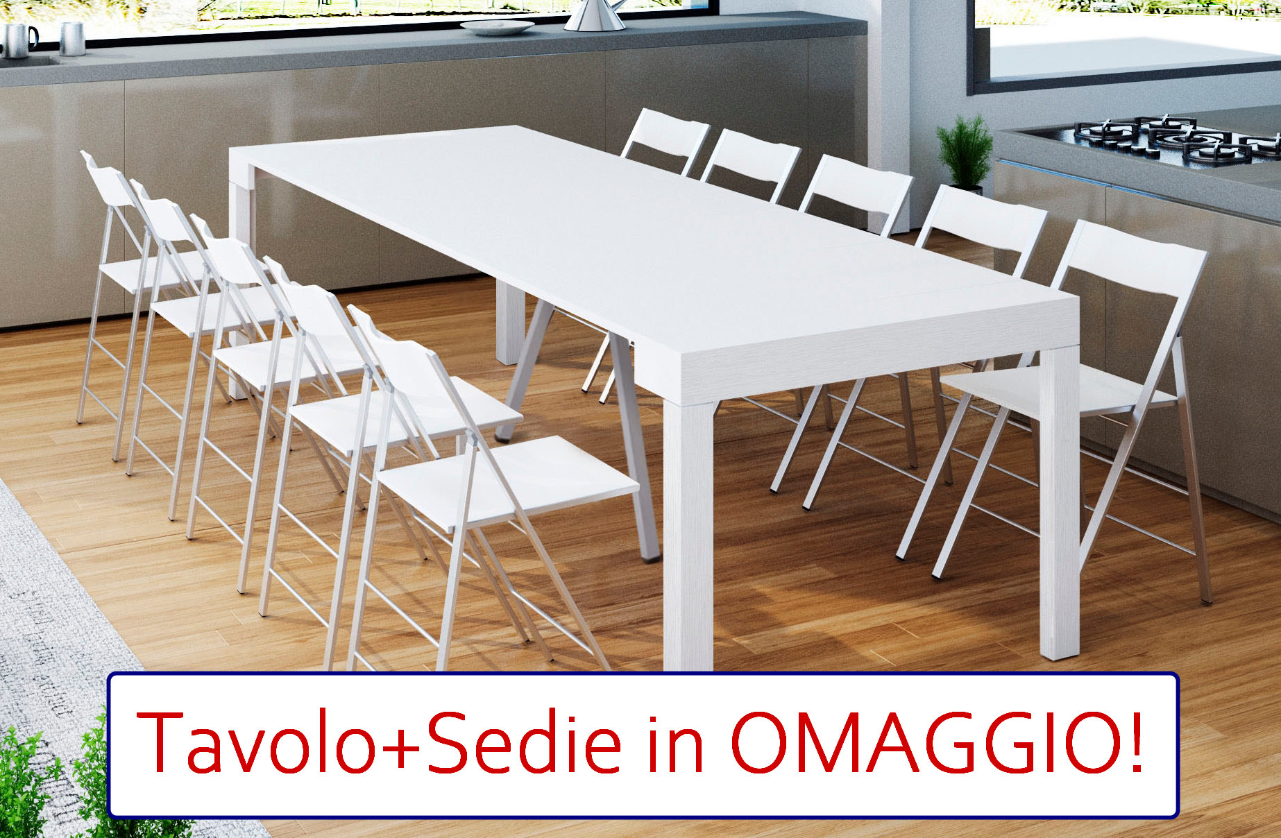 OFFERTA Bundle Tavolo Consolle MAYA 110XL + 12 Sedie Slim Legno